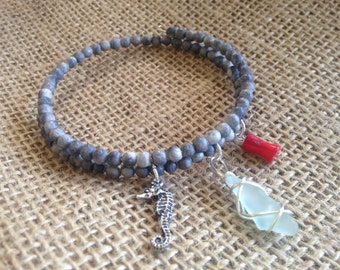 Sea Glass Memory Wire Bracelet