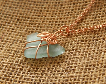Aqua Sea Glass Necklace with Rose Copper Wire