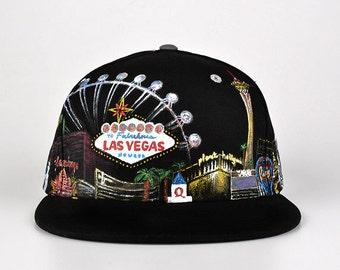 Custom painted LAS VEGAS high quality snapback hat Grassroots California  Black and Grey Adjustable Satin Lined Hat ( 2) 8c8fee751d75