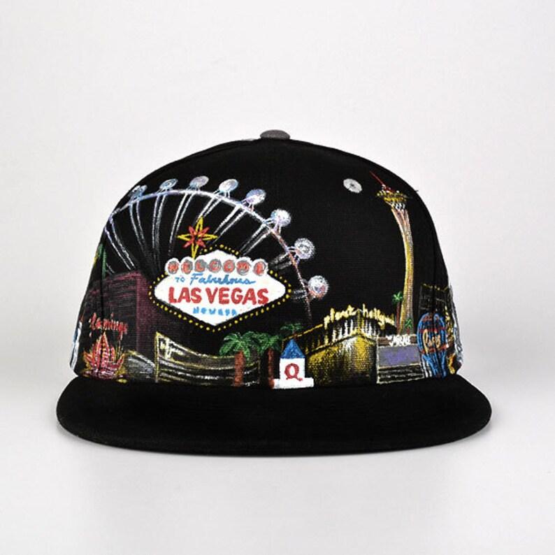 9055920b8 Custom painted LAS VEGAS high quality snapback hat Grassroots California  Black and Grey Adjustable Satin Lined Hat (#2)
