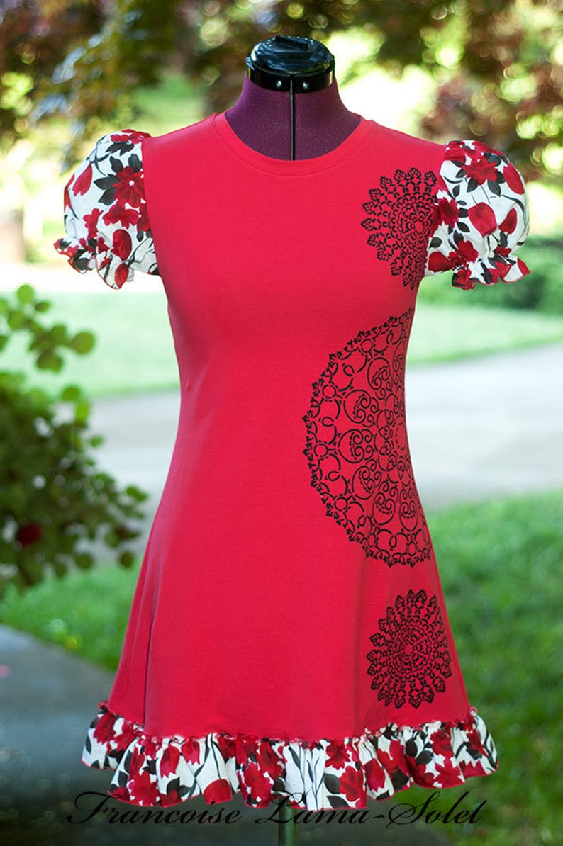 jersey spring summer blouse floral jersey tunic top red t-shirt dress Red black doily tunic short dress ruffled top hand printed shirt