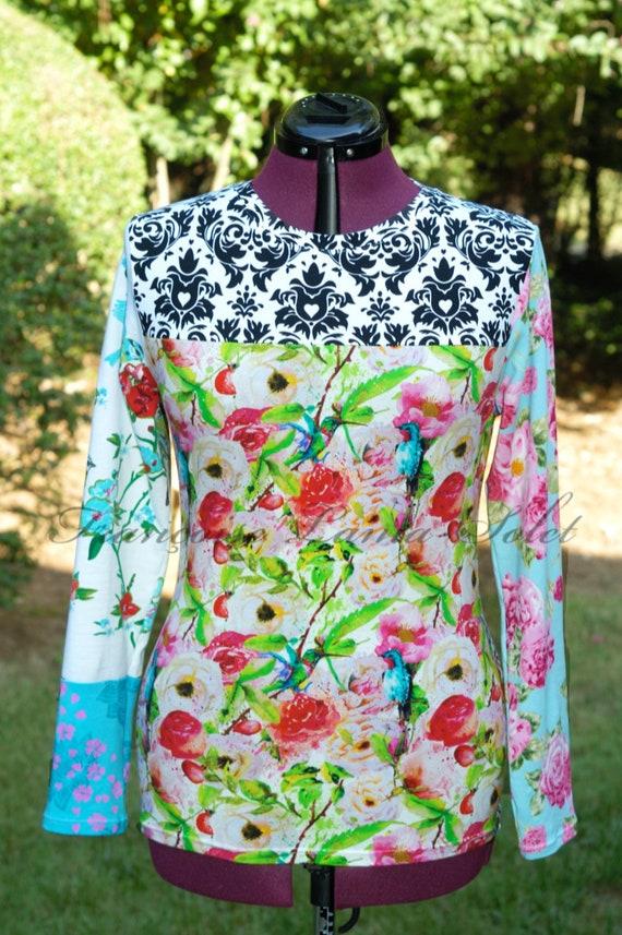 Manches longues Floral Top coloré T Shirt femme Boho vêtements Plus taille oiseau chemise Colibri chemise Artsy Patchwork T Shirt cadeau Unique