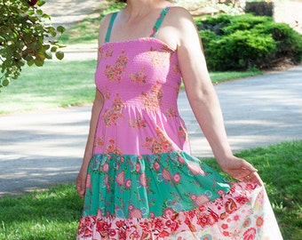 S/M Bohemian gypsy colorful sundress, pink summer tiered dress, patchwork dress, multicolor boho halter dress, hippie festival clothes