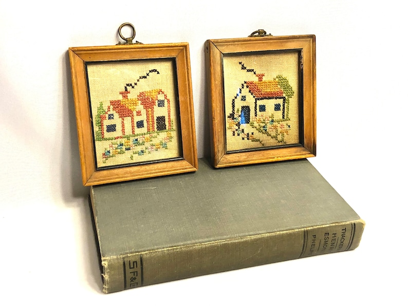Embroidered Pair of Small Framed Country Farm Homes