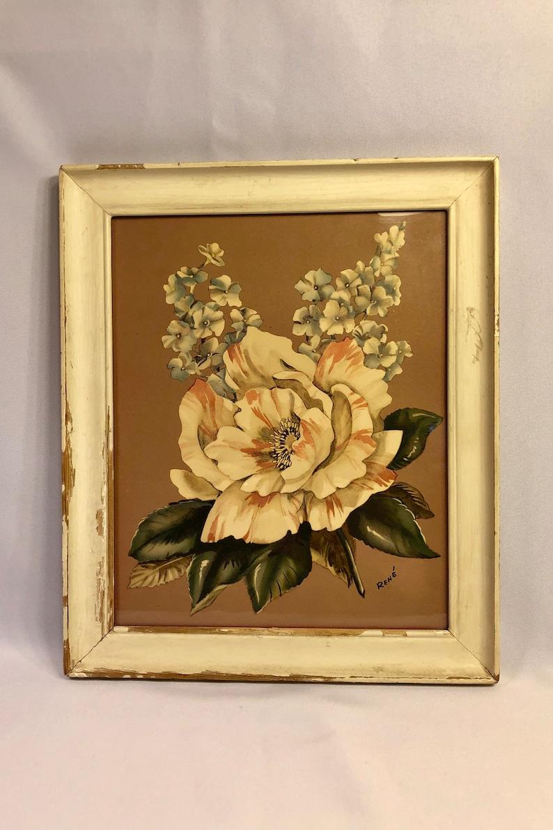 Hibicus Flower Rene vintage print 1950's