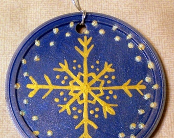 Blue/Gold Snowflake Ornament