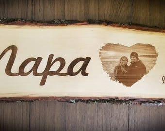 Custom Engraved Wood Plank, Photo Engraved onto Wood, Custom Wood Sign,Anniversary Gift, Wedding Gift, Engagement Keepsake,Home Decor Plaque