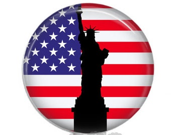Sheltered by Liberty. Retractable ID Badge. Statue of Liberty. Independence Day