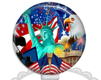Americana Patriotic Collage. Retractable ID Badge.