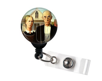 American Gothic Badge Reel ID Holder Retractable ReelGrant WoodFarm Life Classic Art