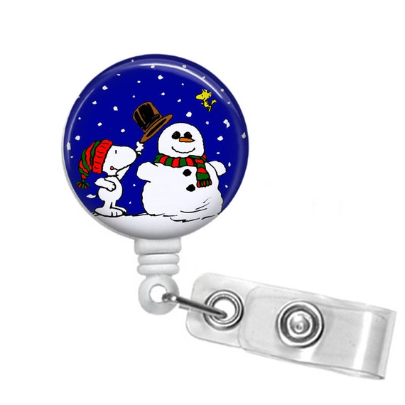 Snoopy And Woodstock Winter Wonderland Retractable Id Badge Etsy