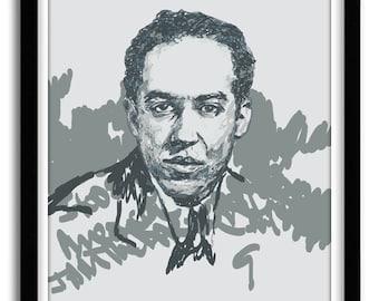 I, Too, Sing America- Langston Hughes Art Print Poster, African American Art, Black Art, Gift for Writer, Office Art,