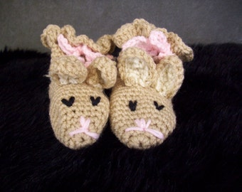 Crochet,Shoes,Booties,Crib shoes,Bunny Booties, Tan,Beige,Children,Boys,Girls,18 months,Baby Shower Gift