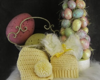 Clothing Sets,Baby Girls,Crochet,Bunny Hat,Diaper Cover, Pale Yellow, Easter,Baby Shower,Spring,Summer,Newborn Photo Prop