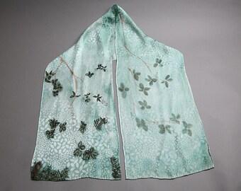 Leaf Jacquard Silk Scarf