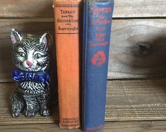 Vintage Books - Tarzan Books - Tarzan The Invincible - Tarzan and The Golden Lion - Hardback Books - Adventure Books - Collectible Books