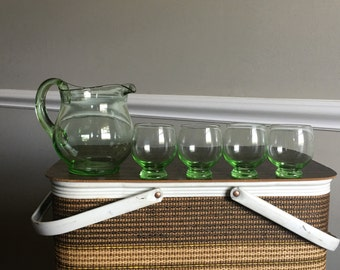 Vintage Pitcher Set - Green Glass Pitcher Set - Set of Glasses - Juice Set - Retro Pitcher Set