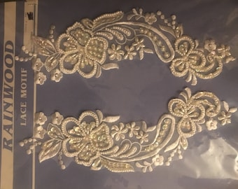 "Vintage ""Rainwood"" mirror image lace appliqués"