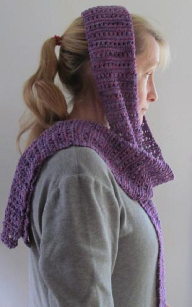 Lavender Bamboo Yarn Knitted Scarf In Open Cable Pattern Etsy