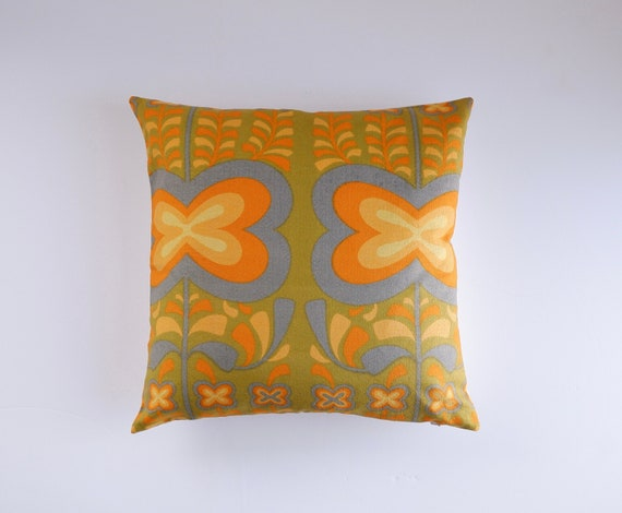 Vintage Heals 60/'s Howard Carter Pansies fabric cushion cover mid century blue