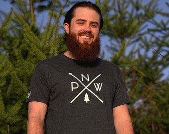 """The Original PNW Pride Unisex Tee - Available in 3 Colors - Rep the Pacific Northwest everywhere you adventure - """"NW Compass Arrows"""" Design"""