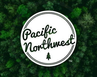 Pacific Northwest Retro Script Decal - For Car Windows, Water Bottles, Laptops, Almost Anywhere