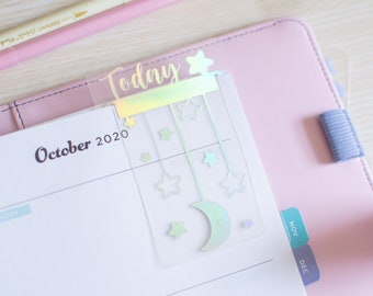 Custom Planner Page Marker, Top Tab Holographic Stars and Moons Planner Divider, Floating Planner Bookmark