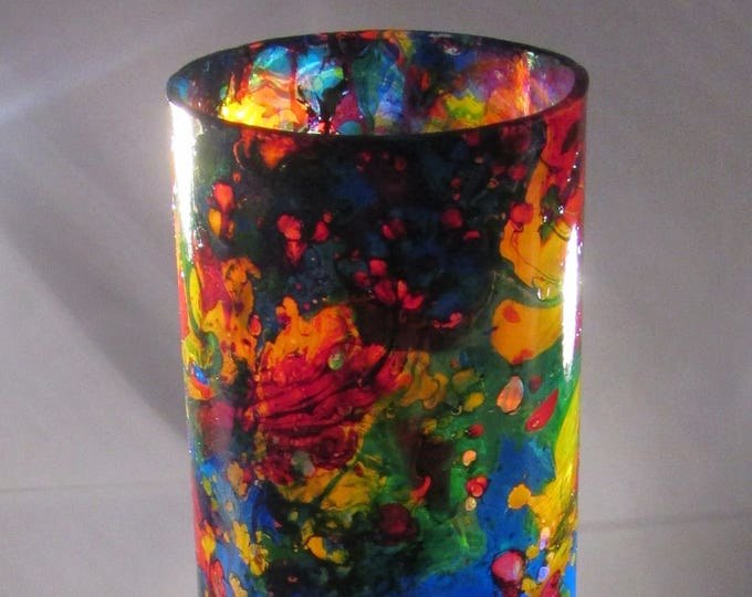 Deep Marble Stained Glass Upcycled Goblet, elegant unusual glass
