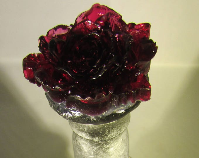 Rose-topped Silver Upcycled Bottle with Snake