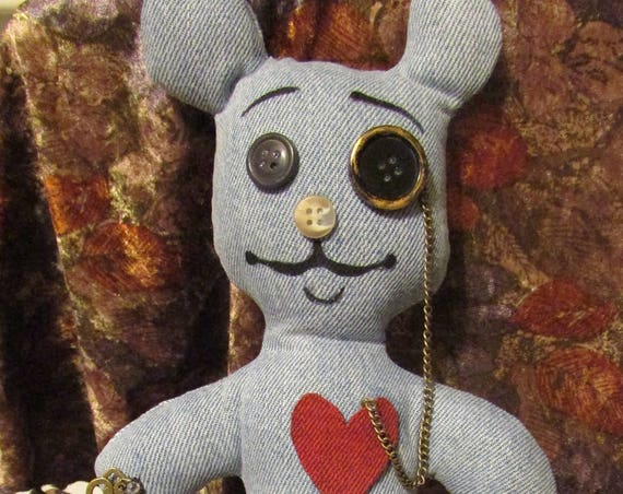 "Denim Upcycled Teddy - ""Theodore"""