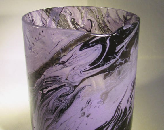 Purple and Black Marbled Glass Upcycled Vase, hand cut jar, repurposed glass