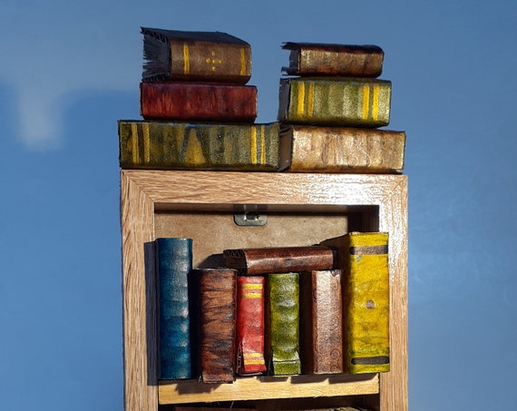 Miniature Bookcase With Tiny Upcycled Bound Books