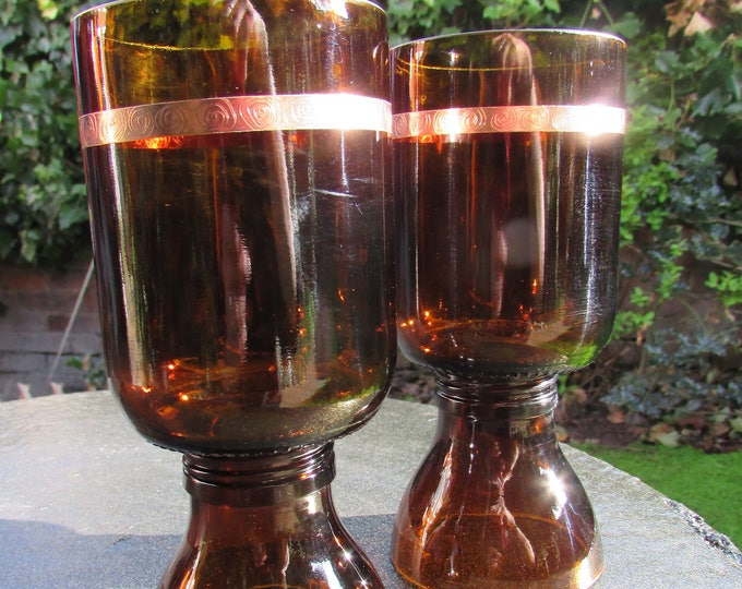 Copper-Banded Brown Glass Goblets (pair)