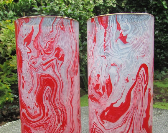 Red and White Marbled Glasses  peppermint candy style upcycled (pair)