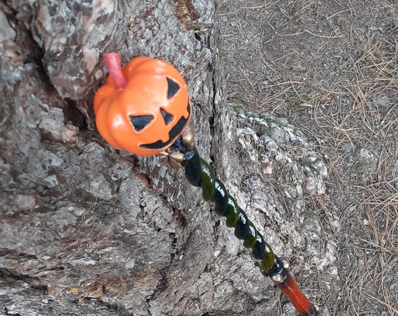 JackO'Lantern Hand Carved Swagger Stick