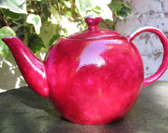 Raspberry and Silver Small Teapot