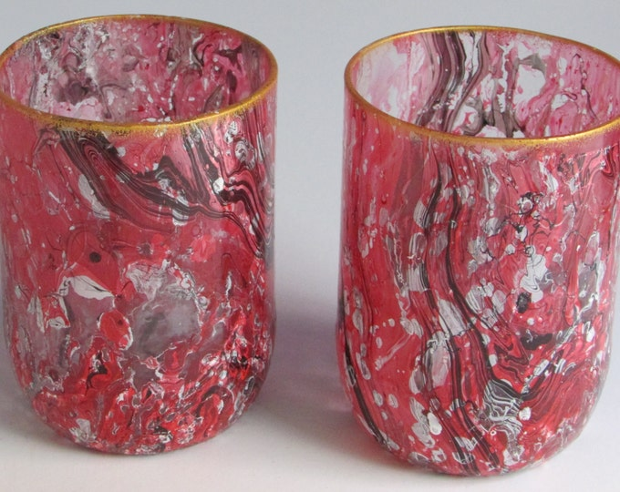 Red And White Marbled glasses (pair)