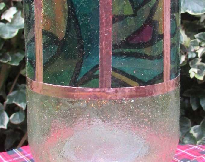 Vase with Stained Glass and Shimmer Glaze Finish, Copper Bound