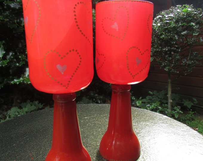Red Heart Pattern Goblets (pair)