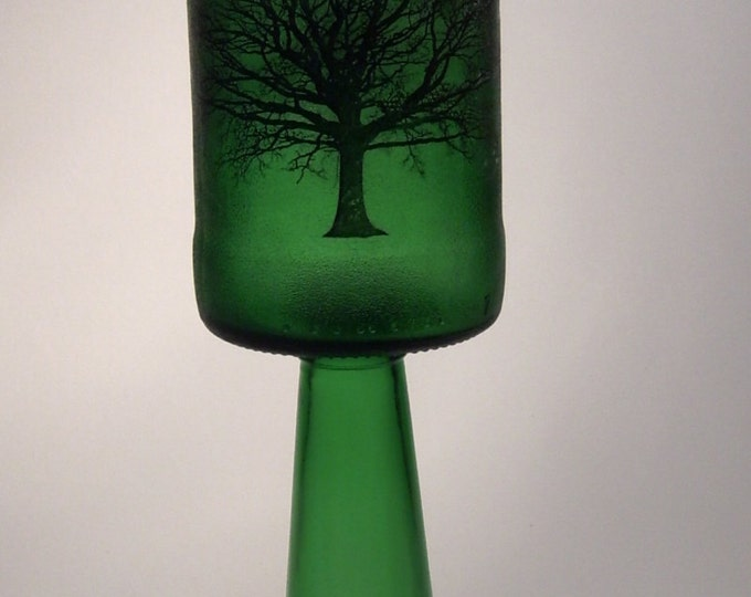 Oversize Green Glass Goblet