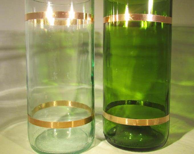 Green and Clear Copper-Bound Tall Tumblers (pair)