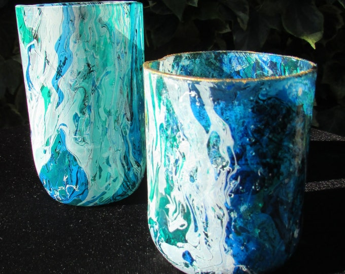 Odd pair of Blue Marbled Glasses
