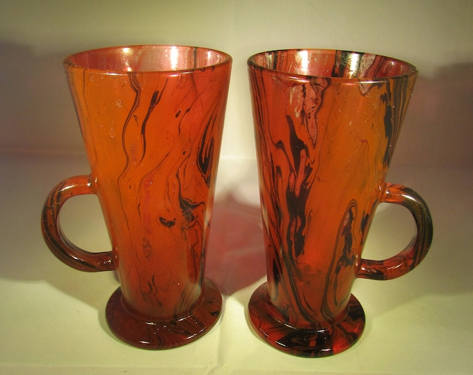 Red and Black Marbled Latte Glasses, upcycled marbled glass, hand painted