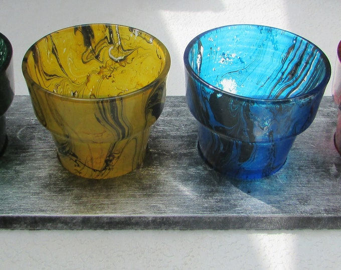 Set of Four Small Marbled Glasses on Silvered Wood Tray