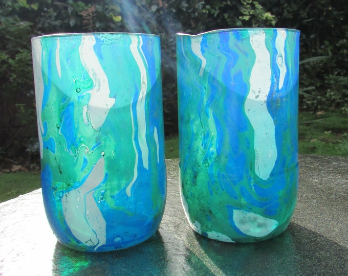 Blue, Green, and White Marbled Glasses (pair)