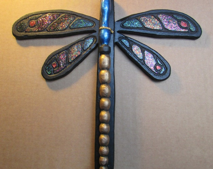Dragonfly Wand and Wall Mount Set, Hand Carved Wood