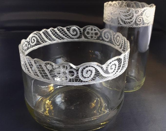 Beautiful Upcycled Lace Glass Bowl and Tumbler