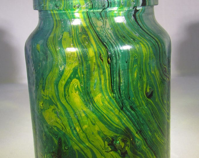 Green Glass Marbled Jar with Stopper, upcycled glass, handmade home accent
