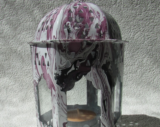 Metal and Glass Purple Marbled Lantern