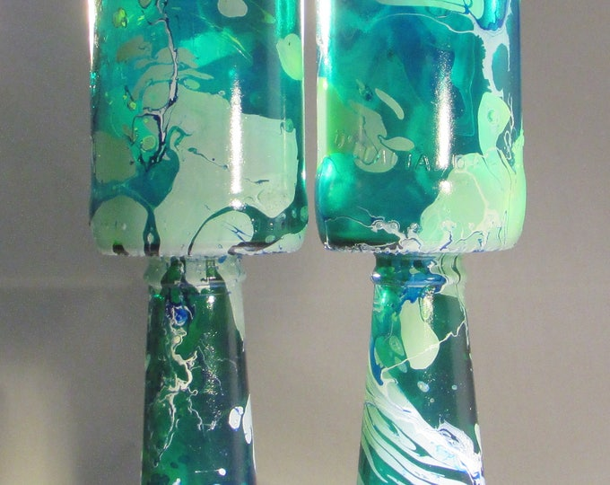 Green and White Marbled Upcycled Wine Glasses, large, marbled glass, eco gift
